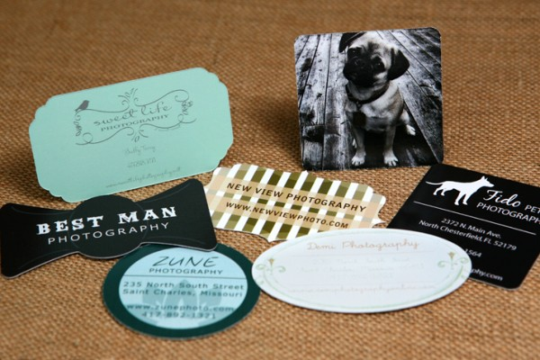 A collection of custom shaped business cards.