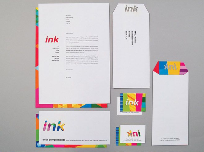 colourful ink letterhead design inspiration
