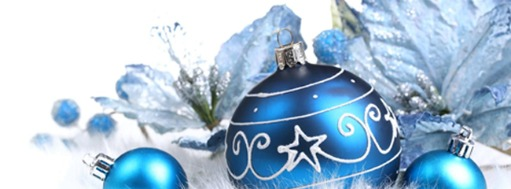 Illustrated blue Xmas decorations