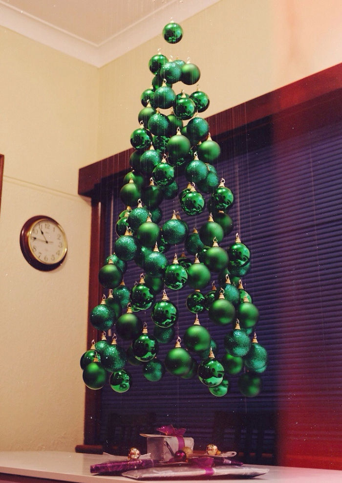 diy christmas trees made of baubles