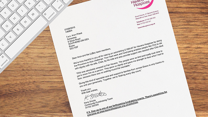 Havens Hospices Thank You Letter