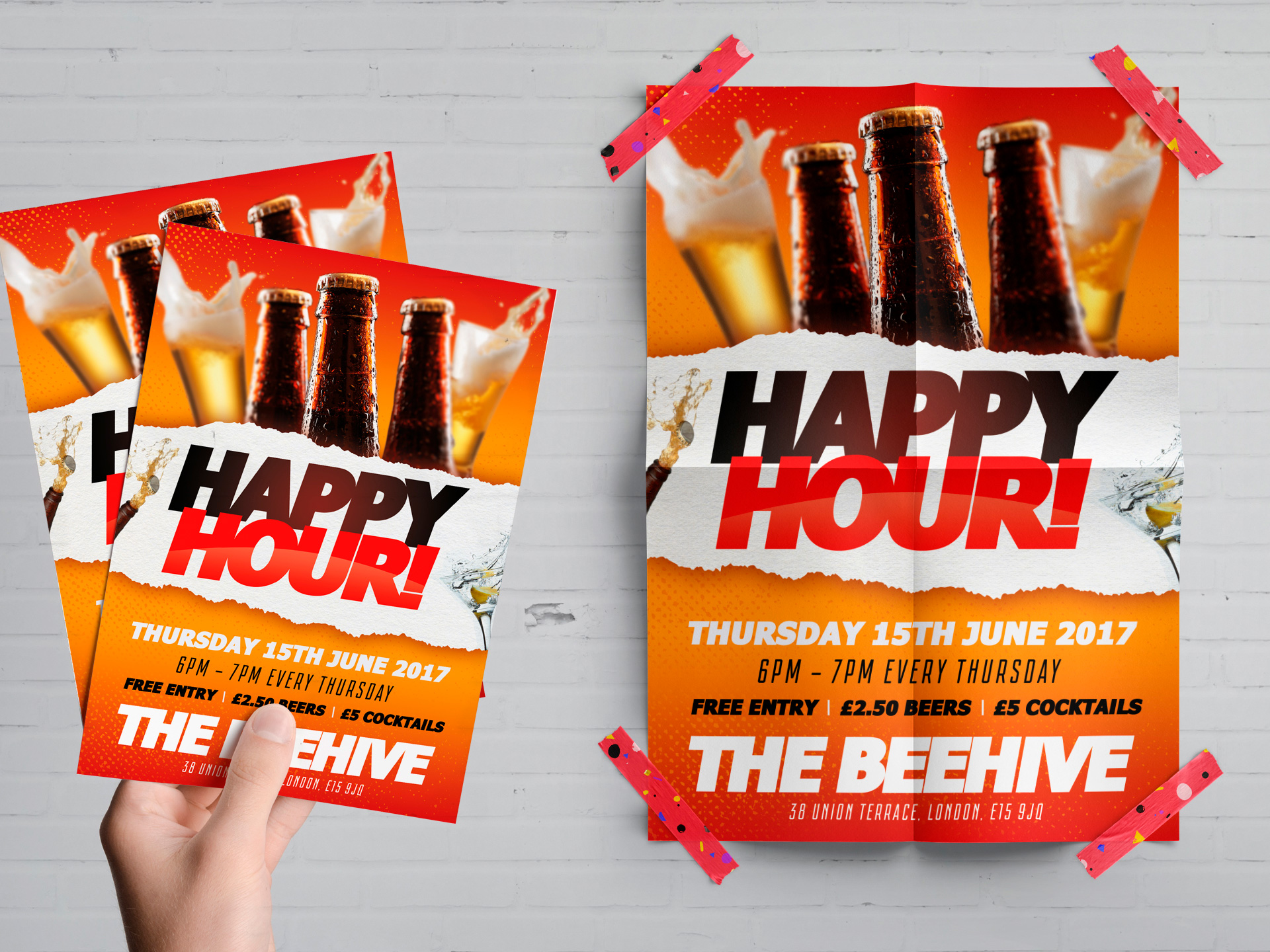 happy hour flyer poster psd template freebies solopress blog