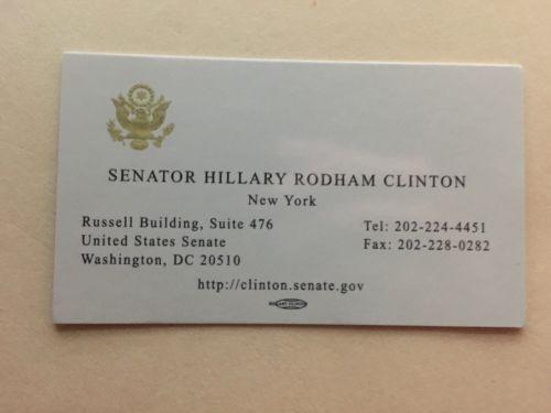 Hillary Clinton's Business Card