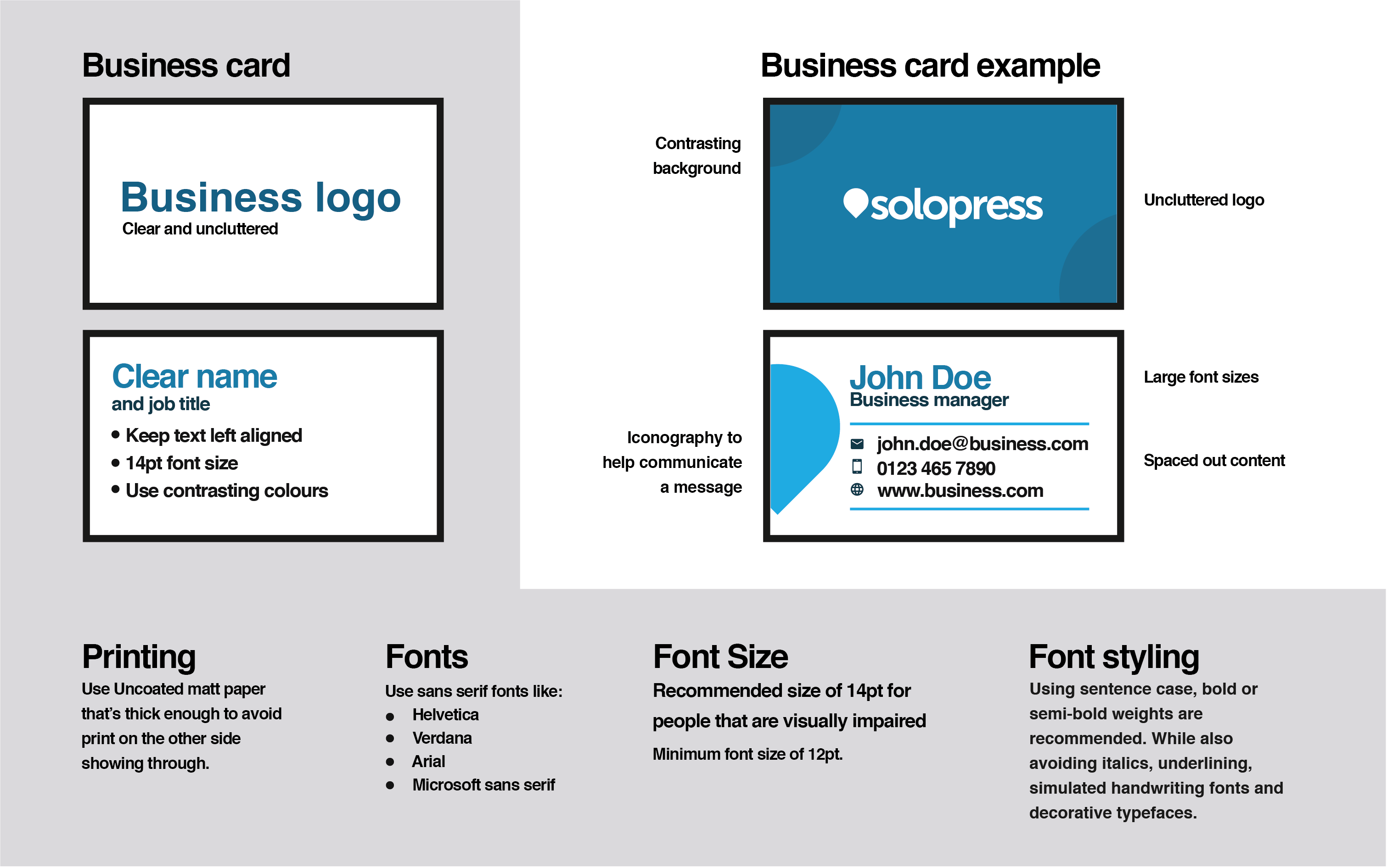 Solopress Business Card Accessibility Guidelines