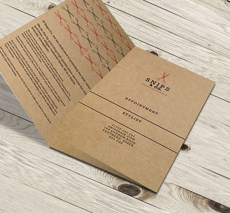 457mic Brown Kraft Paper Folded Appointment Cards