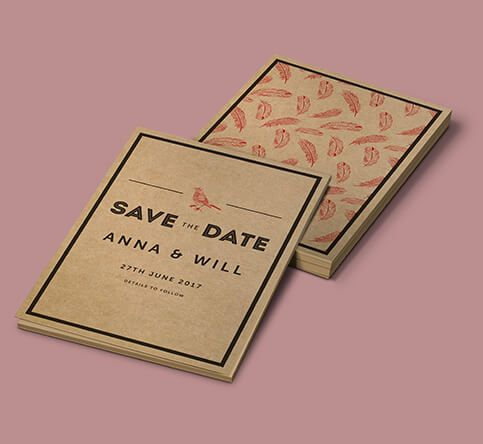 457mic Brown Kraft Paper Save the Date Cards
